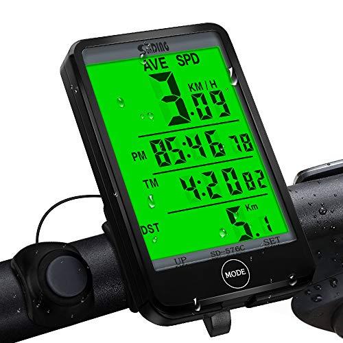 synmixx Fahrradcomputer Kabellos LCD Großbildschirm Fahrradtacho Drahtlos 27 Funktionen Radcomputer Tachometer Wasserdichte Fahrrad Tacho Kilometerzähler für Radsport Realtime Speed Track