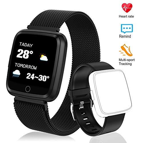Polywell Fitness Armbanduhr mit Herzfrequenz, Fitness Tracker, Bluetooth Sportuhr Aktivitätstracker Schrittzähler, Schlaf Monitor, Kalorienzähler, Pulsuhr für Android/iOS[2 x Replaceable Watch Strap] …