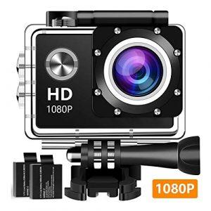Action-Kamera Sportkamera 1080P Full HD Wasserdicht Unterwasserkamera mit 140° Weitwinkelobjektiv 12MP 2 wiederaufladbare Batterien und Montagezubehör Kit – A10