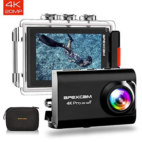 【2019 New】Apexcam Action cam 4K 20MP Sportkamera EIS WiFi Wasserdichte Unterwasserkamera 40M Externes Mikrofon 2.0'LCD 170 ° Weitwinkel 2,4G Fernbedienung 2x1200mAh-Batterien und mehrere Zubehörteile