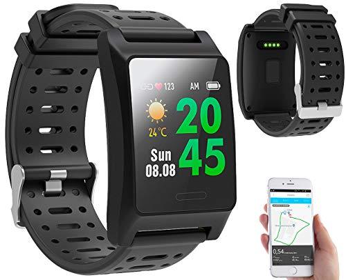 newgen medicals Sportuhr: Fitness-GPS-Armbanduhr, Herzfrequenz-Anzeige, Farb-Display, App, IP68 (Smartwatch GPS)