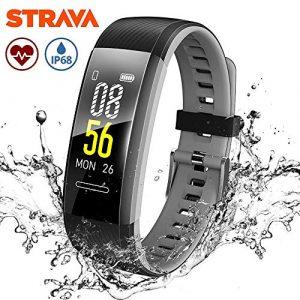 Fitness Tracker, Makibes Fitness Armband mit Herzfrequenzmessung, Wasserdicht IP68, Sport GPS Aktivitätstracker Smartwatch Kompatibel mit Strava, Anruf SMS für iOS Android Handy