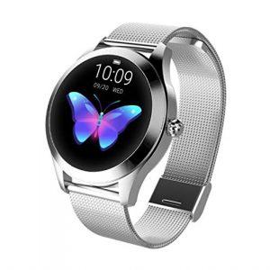 KW10 Smart Watch, IP68 Fitness Tracker für Damen, Stahl/Ledergürtel, Armbanduhr, runder Touch Screen, Multi-Sportmodus für iOS/Android