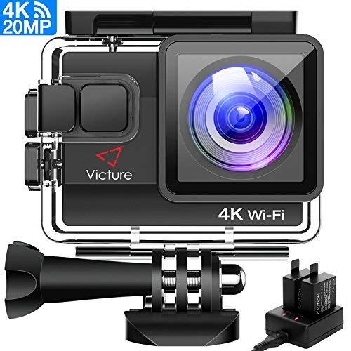 Victure Sportkamera WiFi 4k Ultra HD 20 MP Action-Kamera mit 2 Akkus und externem Ladegerät, Anti-Shaking-Funktion und Time Lapse für Sport Skifahren Motorrad Fahrrad Helm