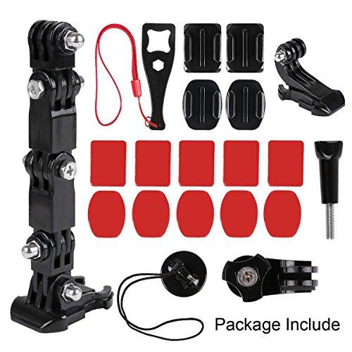 Neewkapt Motorradhelm Chin Swivel 3-Wege-Drehlager Rotationsmontage-Kit Compatible with GoPro Hero 7, (2018), 6 5 4 3, Schwarz, Session, Xiaomi Yi, SJCAM und anderen Action-Kameras