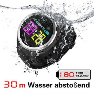 Fitness Sport smartwatch, IPX8 30m wasserbeständige armbanduhren für Herren, mit Herzfrequenz Monitor, Schrittzähler, 30 Tage Laufzeit