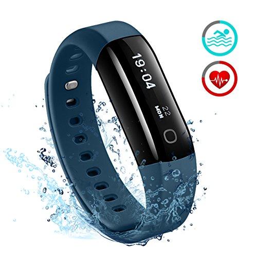 Mpow Fitness Tracker, IP68 Wasserdichte Smart Fitness Armbänder mit Pulsmesser, OLED Bildschirm Herzfrequenzmonitor Aktivitätstracker Pedometer Schlafmonitor,Schrittzähler für Android iOS Smartphones