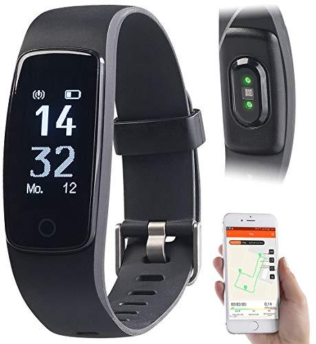 newgen medicals GPS Sportuhr: Premium-GPS-Fitness-Armband mit XL-Touch-Display, 14 Sportarten, IP68 (Fitness-Tracker mit GPS)