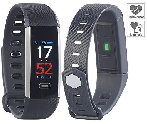 newgen medicals Fitness Tracker: Fitness-Armband mit Farbdisplay, Blutdruck-Anzeige, Bluetooth, IP67 (Fitnesstracker Blutdruck)