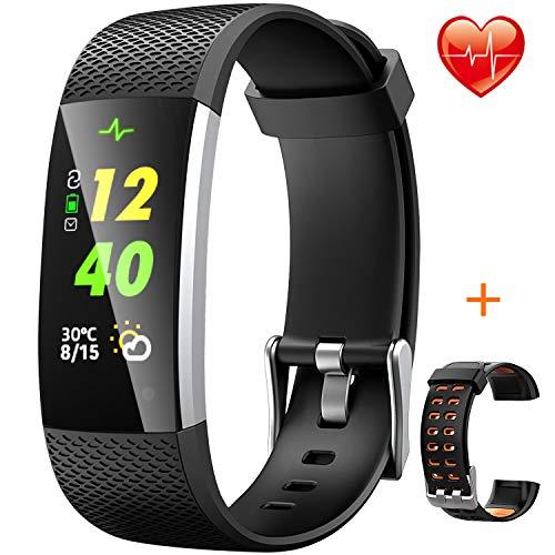 HONGDAK Fitness Armband Uhr Wasserdicht IP67 Fitness Tracker mit Orange Austauschbares Armband Schrittzähler Uhr mit Pulsmesser Aktivitätstracker Farbbildschirm Sportuhr für Damen Herren Kinder