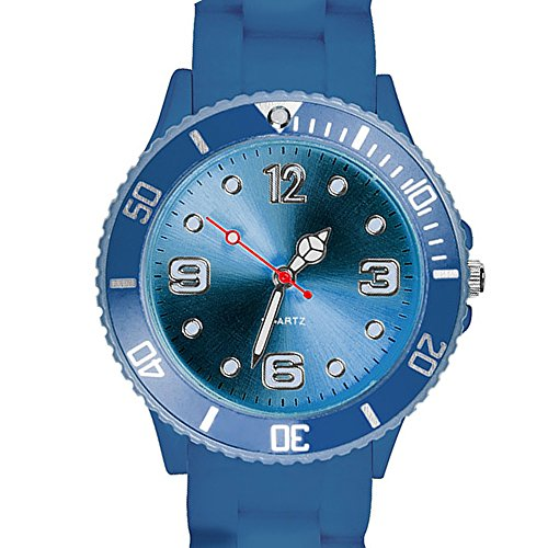 Taffstyle Farbige Sportuhr Armbanduhr Silikon Sport Watch Damen Herren Kinder Analog Quarz Uhr 43mm Marineblau