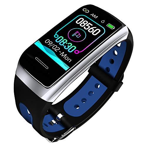 TwobeFit Fitness Armband mit Pulsmesser Fitness Tracker Smartwatch Blutdruckmesser Wasserdicht IP68 Aktivitätstracker Schrittzähler Sport Uhr Stoppuhr Damen Herren Anruf SMS Vibrationsalarm für iPhone Android