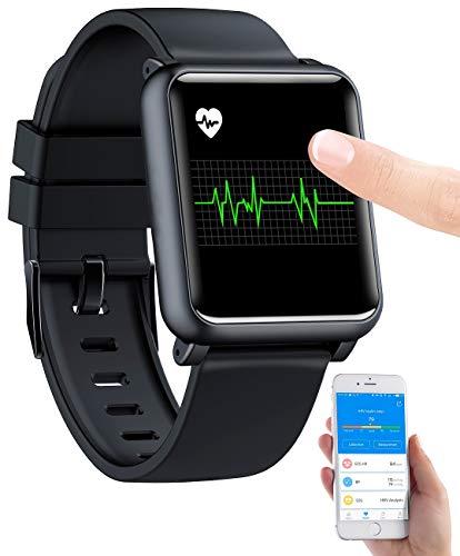 newgen medicals Fitnessuhr: Fitness-Uhr mit EKG- & Blutdruckanzeige, Bluetooth, Touchdisplay, IP68 (Fitnessuhr mit EKG)