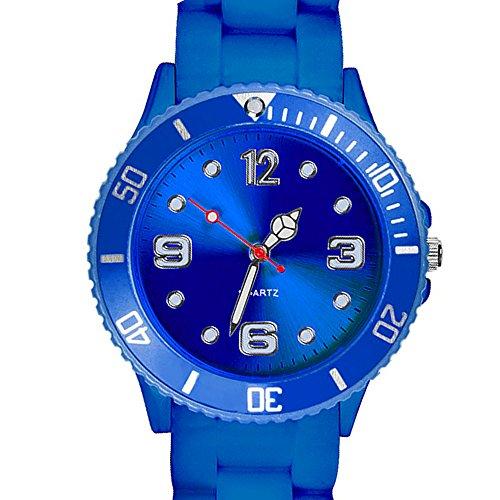 Taffstyle Farbige Sportuhr Armbanduhr Silikon Sport Watch Damen Herren Kinder Analog Quarz Uhr 43mm Blau