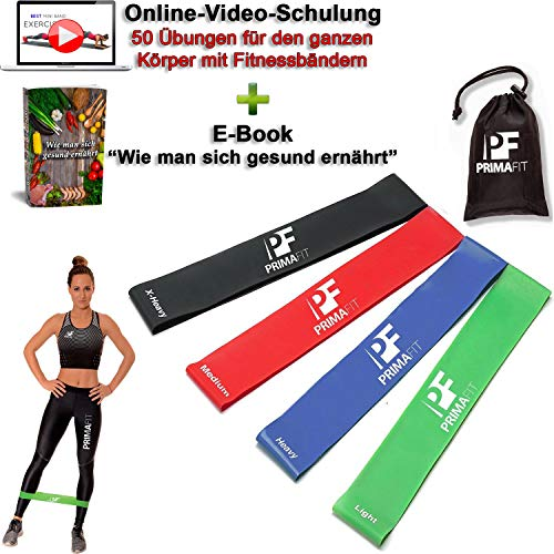 PrimaFit Fitnessbänder Set 4 Gymnastikbander Loops fur Yoga Pilates Crossfit Widerstandsbander Trainingsbander Muskelaufbau Rehabilitation Krankengymnastik Fitnessband Gummi Online-Videotraining