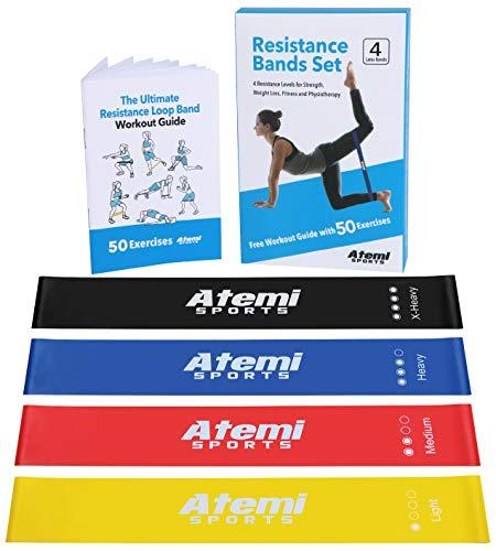 ATEMI SPORTS Fitnessbänder   Set aus 4 Widerstandsbändern mit Trainingsanleitung   Ideal für Muskelaufbau, Physiotherapie, Pilates, Yoga, Gymnastik und Crossfit   Gymnastikband für Männer und Frauen