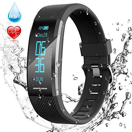 AGPTEK Fitness Tracker, Wasserdicht IP67 Fitness Armband Uhr mit OLED Screen, Pulsuhren USB Anschluss, Schrittzähler, Kalorienzähler, Herzfrequenz, Pulsmesser, Anruferinnerung usw, C11 Schwarz ...