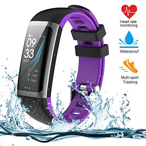 Fitness Armband, Fitness Tracker mit Pulsmesser, Aktivit?tstracker, Herzfrequenzmonitor, Farbbildschirm Bluetooth Smart Armbanduhr Schrittz?hler, Smart Watch IP67 Wasserdicht SchlafMonitor (G26-PU)
