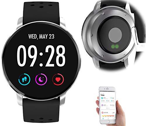 newgen medicals Sport-Uhr: Fitness-Uhr mit Herzfrequenz-Messung, Bluetooth, Edelstahl, IP67 (Aktivitätstracker-Uhr)