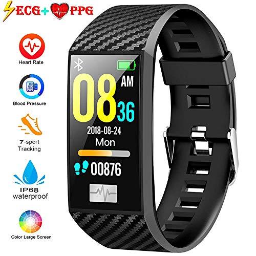 leegoal ECG PPG Fitness Tracker, IP68 wasserdichte Aktivitäts-Tracker Armband Uhr[Support Swimming] mit Herzfrequenz-Blutdruckmessgerät, 1,14 Zoll Farbbildschirm Sportarmband für Android und iOS