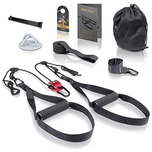 High Pulse® Schlingentrainer Set (7-TLG.) - Umfassendes Sling Trainer Kit mit Umlenkrolle, Türanker, Wandbefestigung, Poster, Türschild, Tasche und Fitnessband für EIN effektives Ganzkörpertraining