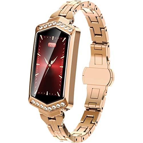 ZZALL Mode Frauen Smart Watch Armband mit Metallarmband, Blutdruck Pulsmesser Sport Smartwatch Aktivität Tracker
